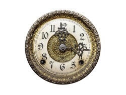 Old wall clock isolated on a white background.