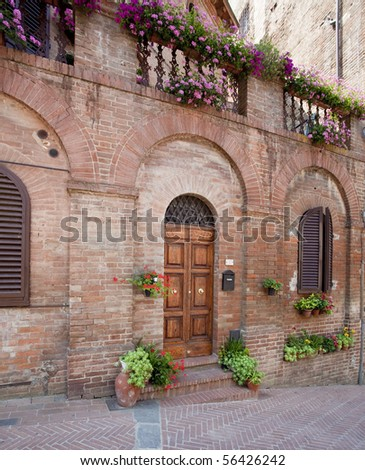 old wall face in tuscany - stock photo