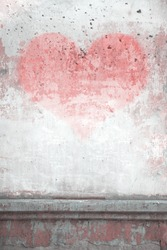 old wall graffiti, heart, valentines day background