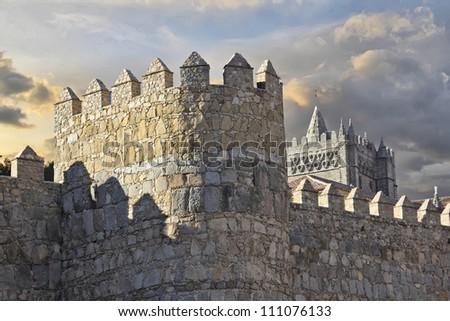 old wall surrounding the city Avila, Spain - stock photo