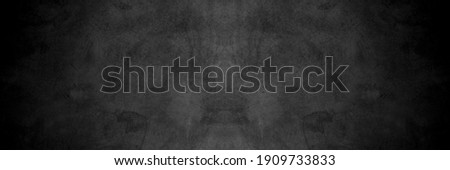 Old wall texture cement dark black gray panorama background abstract grey color design are light with white gradient background. Foto d'archivio ©