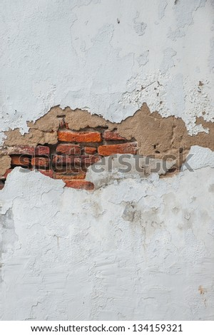 Old wall with brick fragment in Asia