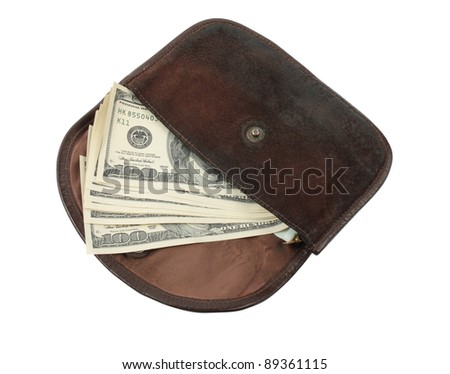 old wallet with american dollars isolated on the white background
