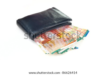 Old wallet with sheqel isolated on white background