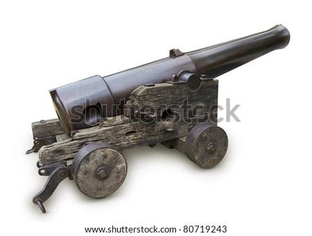 Old war cannon. 1860 year. #80719243