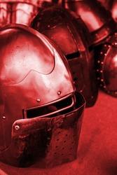 Old war helmet, detail of a medieval armor, war and destruction