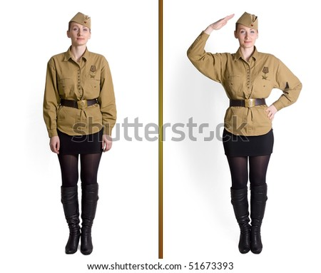 Old Wars Young soldier girl on a white background history isolated