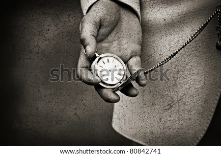 Old watch in the hands. Time concept