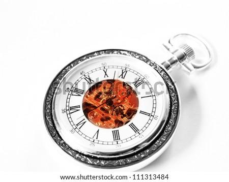 Old watch machine on white background