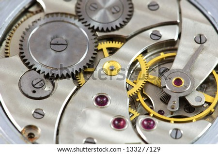 Old watch mechanism close up image