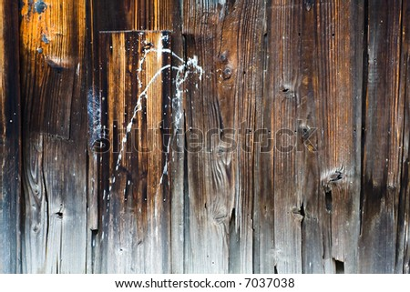 Old Water Damaged Wood Board Wall, With Paint, Texture Background, Horizontal
