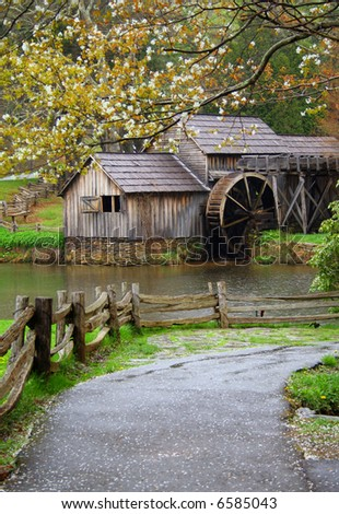 Old water mill during Spring