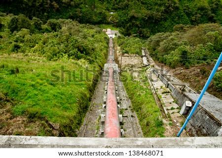 Old Water power plant, dam electric energy generator, Ecuador