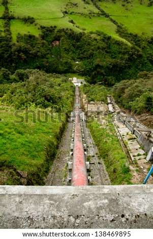 Old Water power plant, dam electric energy generator, Ecuador