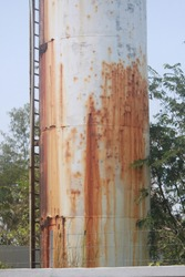 Old water tank is rusty