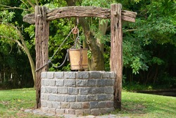 Old Water Well With Pulley and Bucket