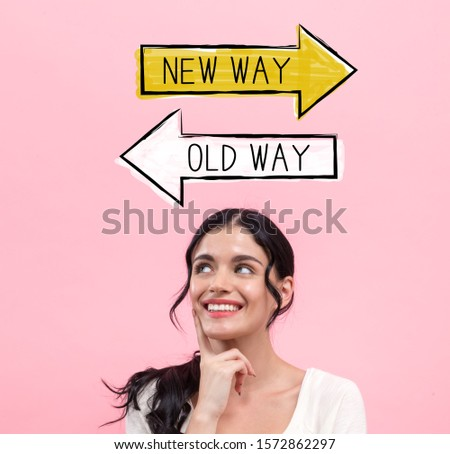 Old way or new way with young woman in thoughtful pose
