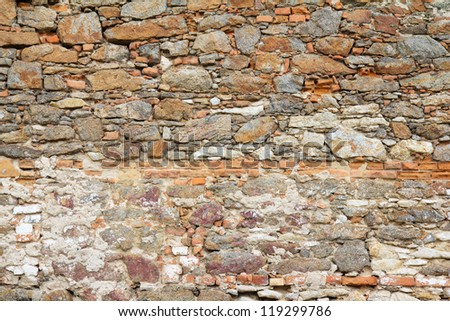 Old weathered brick wall fragment, textural background