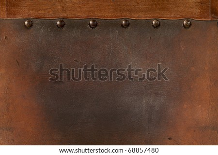 old  weathered leather tacked