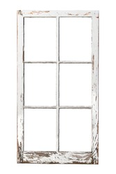Old weathered 6 pane window isolated on white