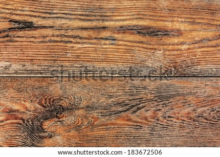 Old, weathered patio garden bench sitting surface texture, made of White Pine stained and varnished knotted planks, with joint grooves.