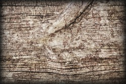 Old Weathered Rotten Cracked Coarse Knotted Wood  Vignetted Grunge Texture