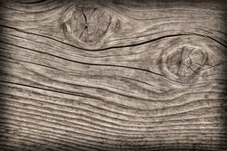 Old Weathered Rotten Cracked Knotted Coarse Wood Vignetted Grunge Texture