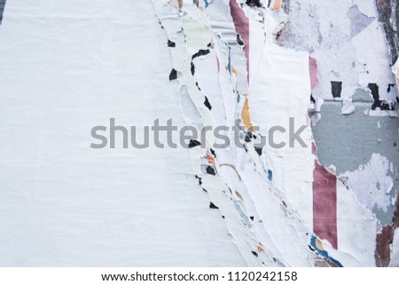 Old weathered torn street poster, use for urban ghetto background
