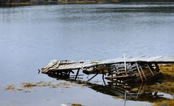 Old weathered wharf in an outport community, Newfoundland and Labrador,  Canada