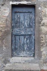 Old weathered wooden door.