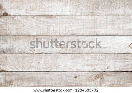 Old weathered wooden plank painted in white color. Vintage white pine wood background. #1284385732