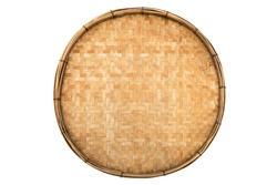 Old weave bamboo wood tray isolated on white background. Bamboo basket handmade isolated