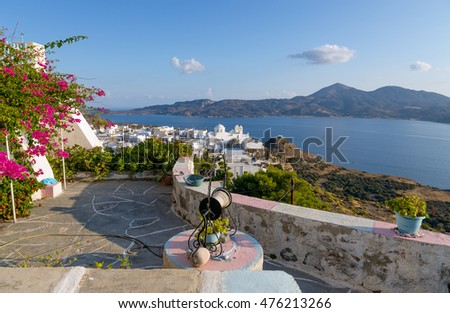 Old well and typical Cycladic architecture in Plaka village, Milos island, Greece