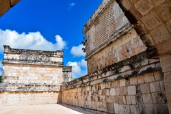 Old, well-preserved Maya buildings on the site in Uxmal