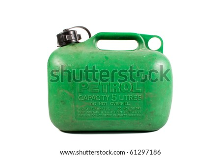 Old well Used Green Petrol Gasoline Can Isolated on White Background