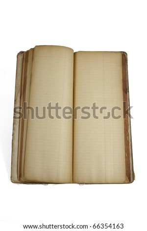 Old well worn accounting ledger book on white background. Grunge ...