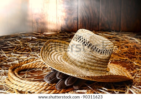Old West farmer straw hat and gloves on a sisal ranching rope on hay covered wood floor in a dusty antique ranch hay barn hit by diffused sunlight