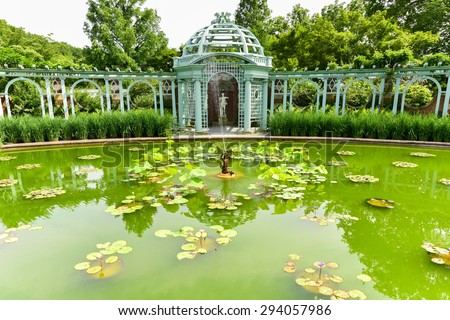 Old Westbury, New York - July 3, 2015: Garden at Long Island Gold Coast Mansion at Old Westbury Gardens