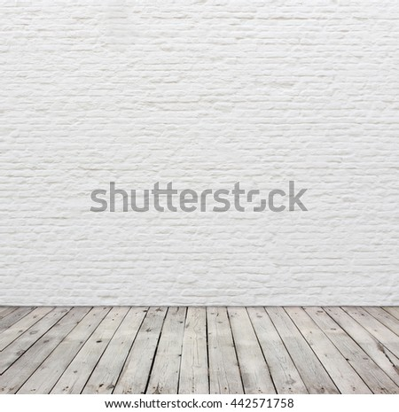 Old White Brick Wall And Wood Floor Ez Canvas