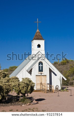 Old white church found in the ghost town of Goldfield, Arizona
