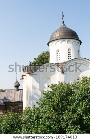 old white church in historical fortress - stock photo