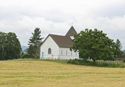Old white church on the hill