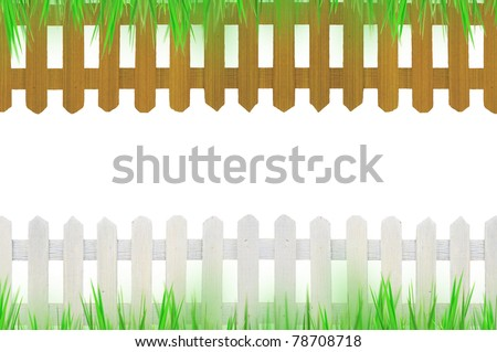 old white fence and brown fence with grass for background