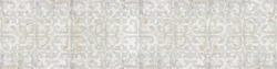Old white gray grey rusty vintage worn shabby elegant floral leaves flower patchwork motif tiles stone concrete cement wall wallpaper texture background banner panorama