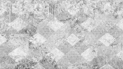 Old white gray grey vintage worn shabby elegant damask rue diamond floral leaves flower patchwork motif tiles stone concrete cement wall wallpaper texture background