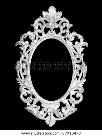Old white mirror carved