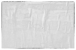 Old white paper poster ripped torn vintage creased crumpled texture background surface blank placard  backdrop text space wall