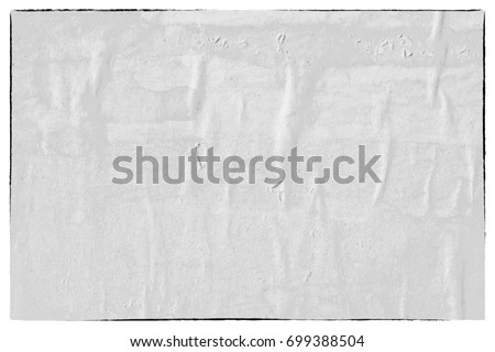 Old white paper poster ripped torn vintage creased crumpled texture background surface blank placard  backdrop text space wall #699388504