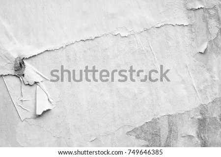 Old white posters ripped torn vintage creased crumpled paper texture background surface blank placard backdrop text space