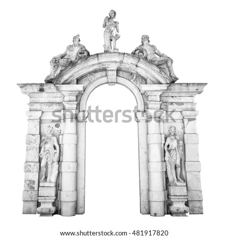Old white stone entrance with statues suitable as a frame or border.